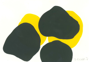 Monika Gojer, water yellow black, 2015, gouache/paper, 14,8 x 21 cm