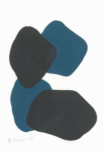 Monika Gojer, water blue anthracite II, 2015, gouache/paper, 21 x 14,8 cm