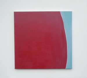 Monika Gojer, touching thought red lightblue, 2016, acrylic on canvas, 50 x 50 cm