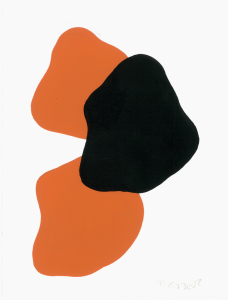 Monika Gojer, water orange black II, 2017, gouache and acrylic/paper, 21 x 14,8 cm