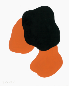 Monika Gojer, water orange black, 2017, gouache and acrylic/paper, 20 x 15 cm