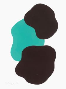 Monika Gojer, water turqouise darkbrown 2017, gouache/paper, 21 x 14,8 cm