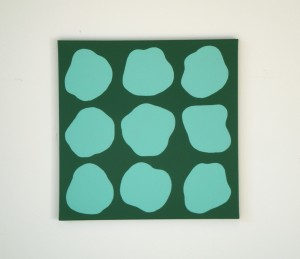 Monika Gojer, communication pool blue grey, 2017, acrylic on canvas, 50 x 50 cm